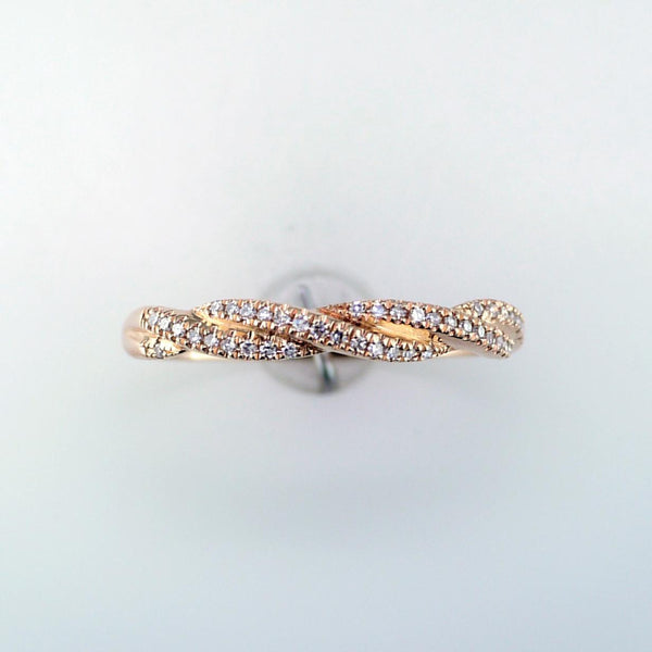 14 Karat Rose Gold Diamond Twist Band
