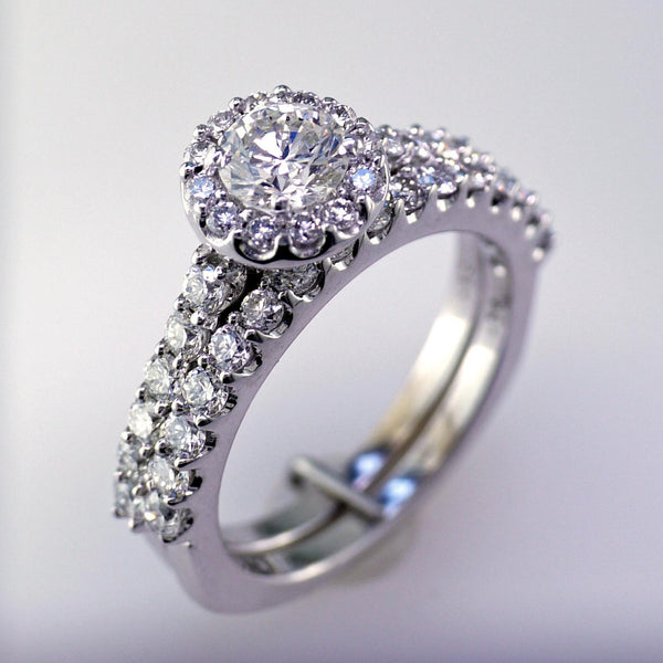 Ladies 14 Karat White Gold Engagement Set