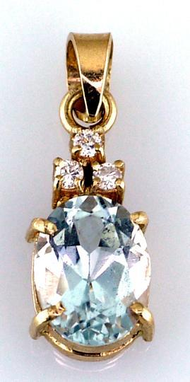 Ladies 14 Karat Yellow Gold Aquamarine and DIamond Pendant