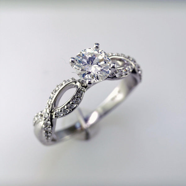 Ladies 14 Karat White Gold Diamond Engagement Ring