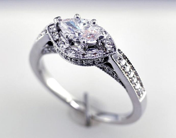 Ladies 14 Karat White Gold Engagement RIng with Marquise and Round Diamonds