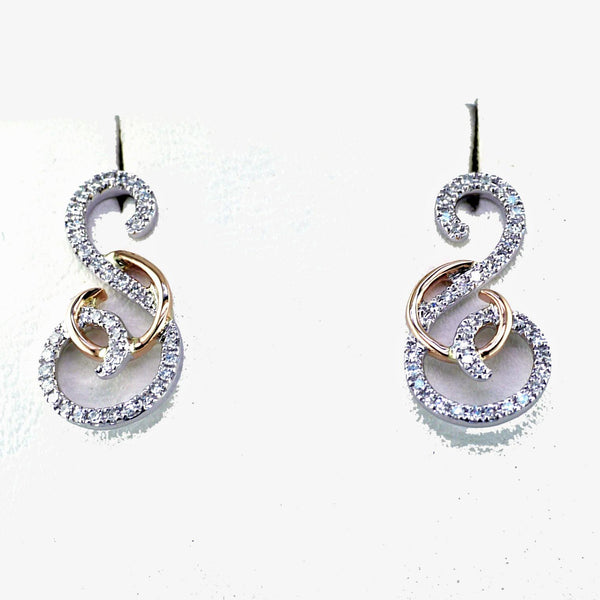 14 Karat White and Rose Gold and Diamond Earrings