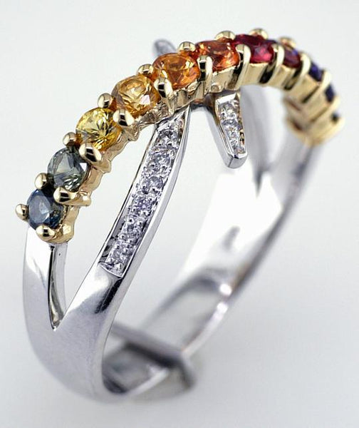 14 Karat White and Yellow Gold Rainbow Sapphire and Diamond Ring