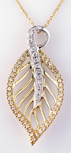 Ladies 14 Karat Two Tone Gold Leaf Pendant with Diamonds