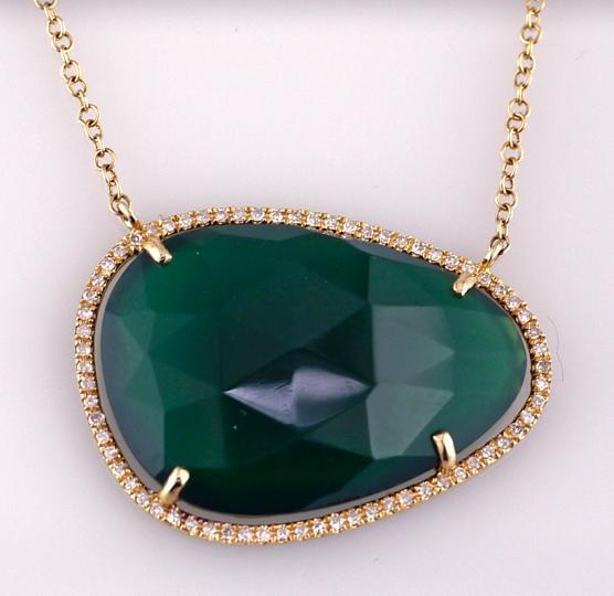 14 Karat Yellow Gold Green Agate and Diamond Necklace