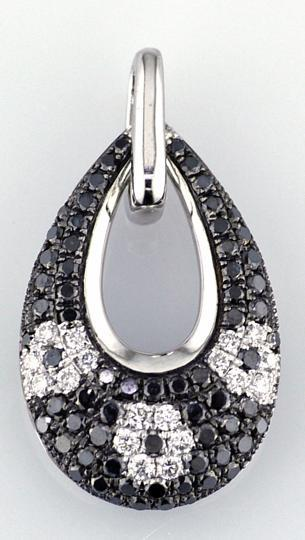 Ladies 14 Karat White Gold Pendant with Black and White Diamonds
