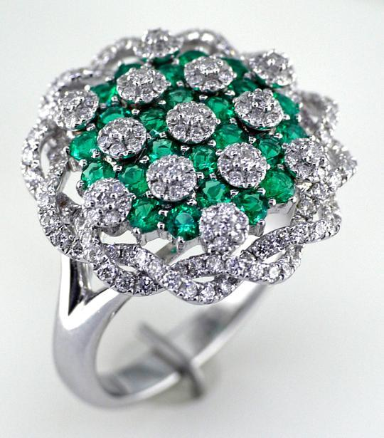 14 Karat White Gold Emerald and Diamond Ring
