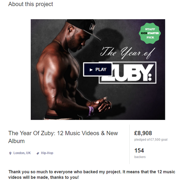 The Year of Zuby Kickstarter result