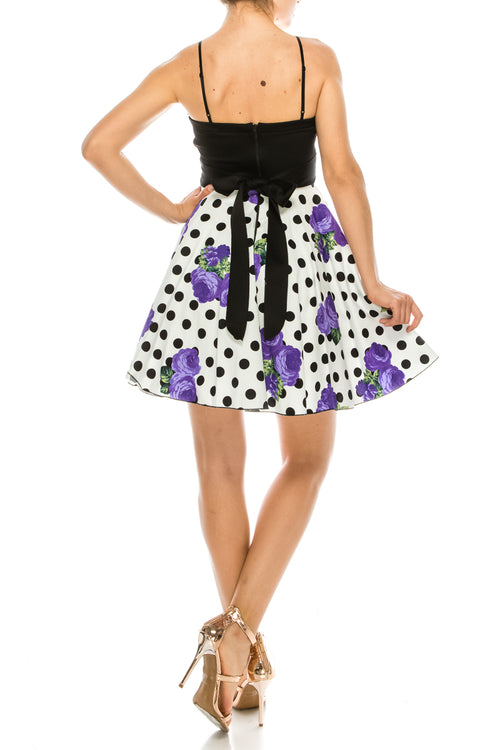 Spaghetti Strap Polka Dot Rose Print Short Fit and Flare Skater Dress (6 Pieces)
