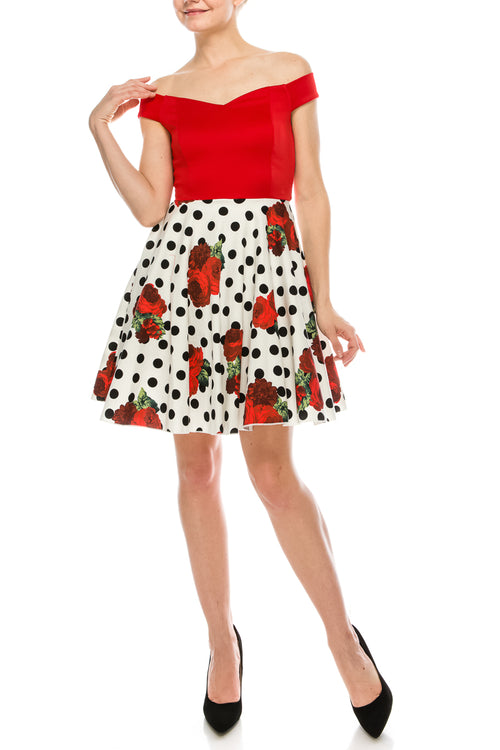 Off Shoulder Polka Dot Rose Print Short Fit and Flare Skater Dress (6 Pieces)