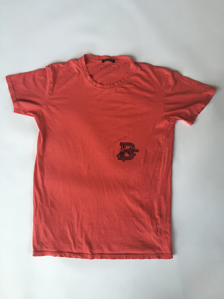 Coral red distressed balmain basic tee 2011 Medium