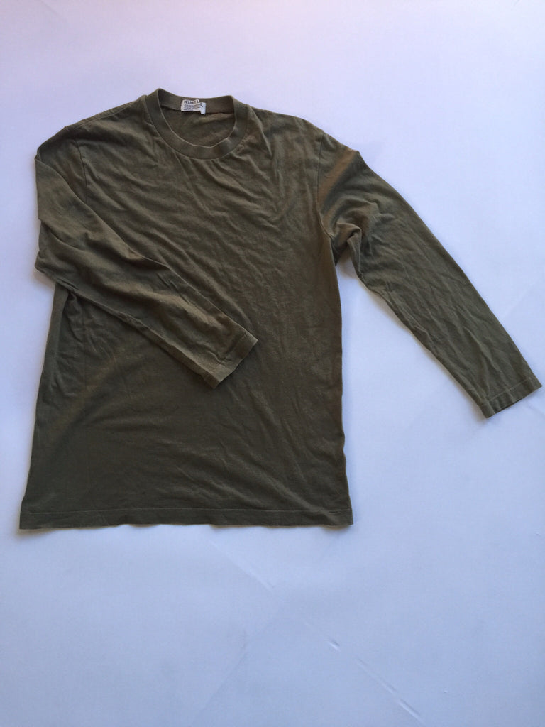 Helmut Lang Olive Basic Tee from 1998 Medium