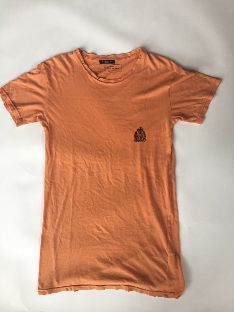 Orange balmain basic tee with crest 2011 Small