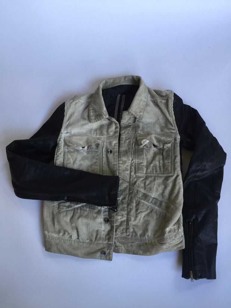 Rick Owens DRKSHDW Corduroy Jacket with Leather Sleaves Medium