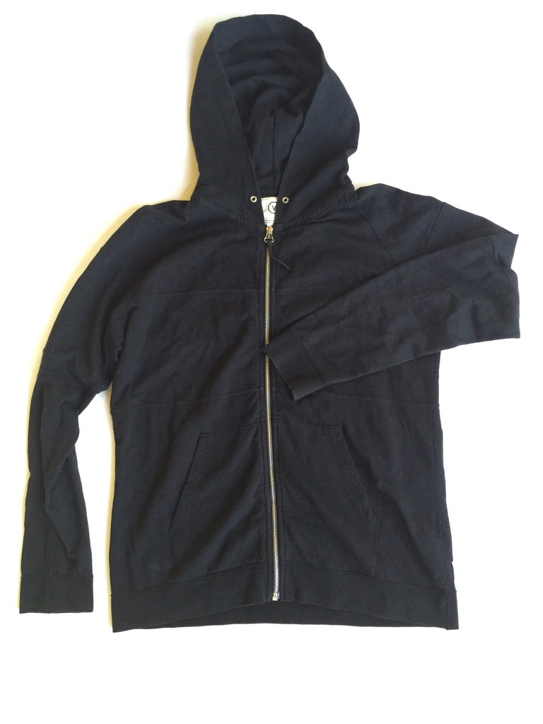 Visvim Black Paneled Zip up Hoodie Large