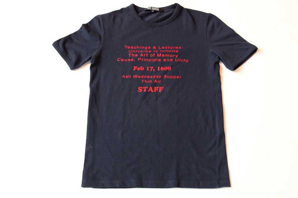 "Raf Simons ""staff"" T-shirt Navy Size 48 ""History of the World"" A/W 2005"