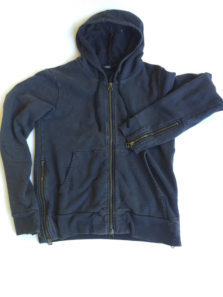 Balmain Decarnin Era Navy Zip Up Hoodie Large