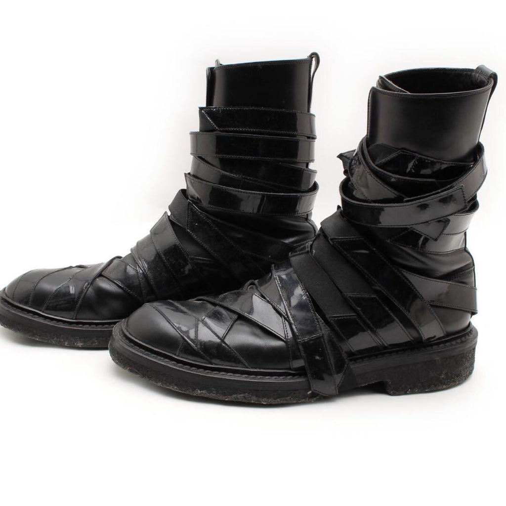"Dior Homme patent leather strapped boots A/W08 ""Lumiere du Nord"" 42"