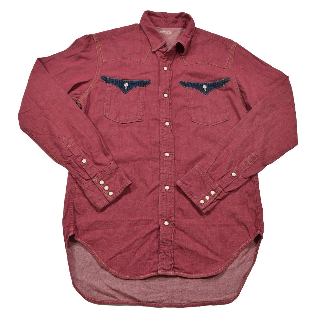 Kapital red denim western shirt with contrast pockets Medium