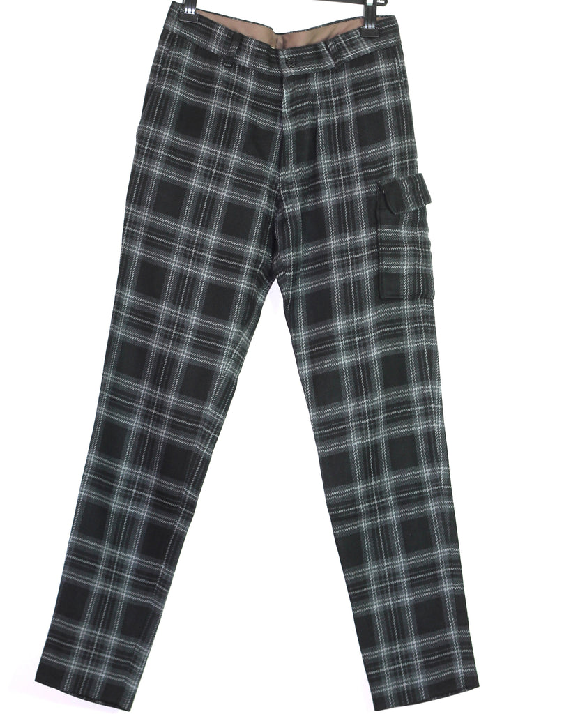 Underkoverist shadow plaid MA-1 pocket flannel trousers 30