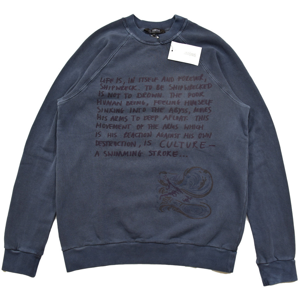 "INQUIRE Raf Simons ""Shipwreck script"" crewneck A/W04""Waves""  46/Small"