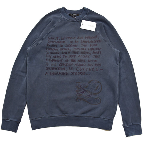 "NOT FOR SALE Raf Simons ""Shipwreck script"" crewneck A/W04""Waves""  46/Small"