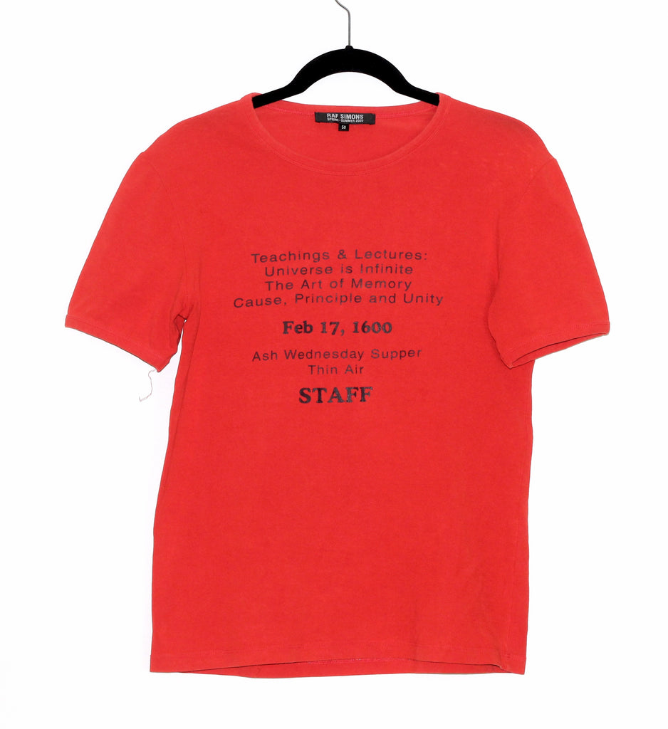 "Raf Simons ""Staff"" T-shirt 2005 "" History of My World"" 50/Large"