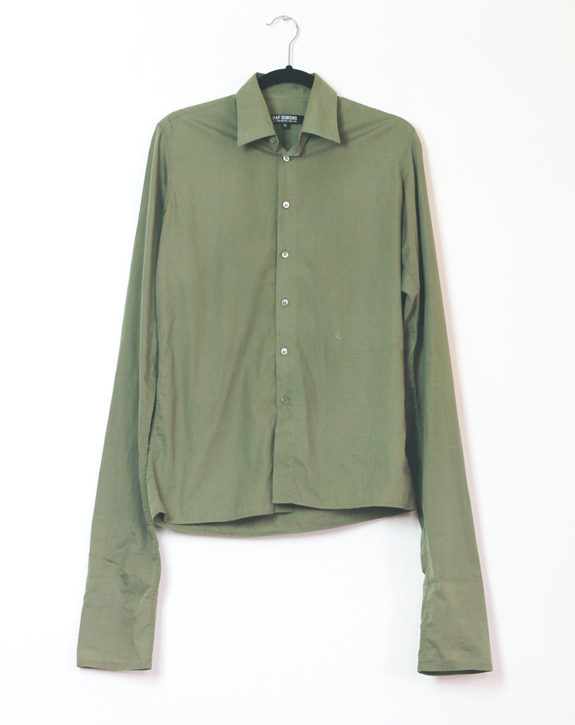 "Raf Simons R emblem Elongated sleeves button up F/W2004 ""waves"" medium"