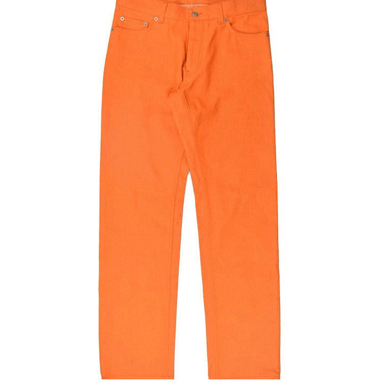 INQUIRE Helmut Lang Orange Raw Denim Pants S/S00 31