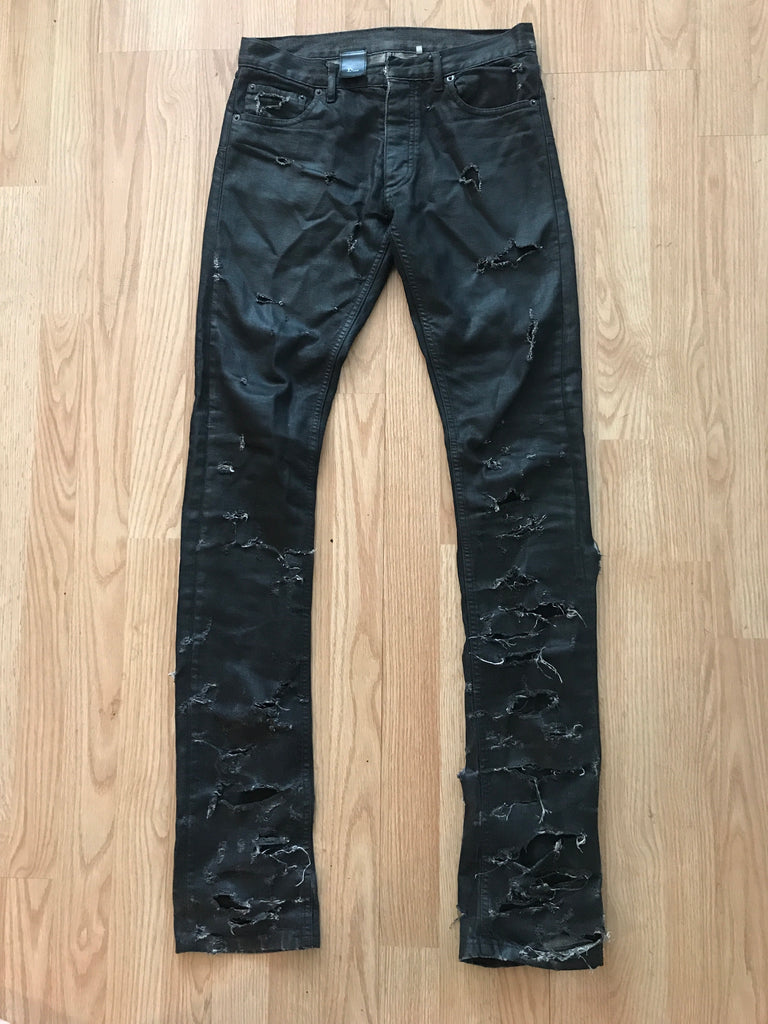 "Dior waxed and distressed ""strip"" denim 2004 28"