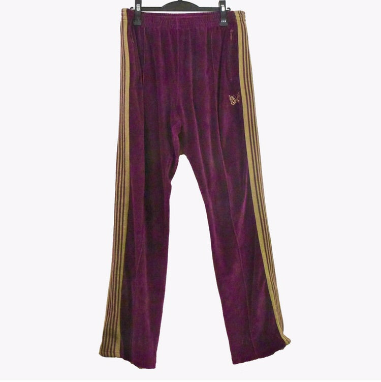 Needles burgundy and gold velour track pants. XL