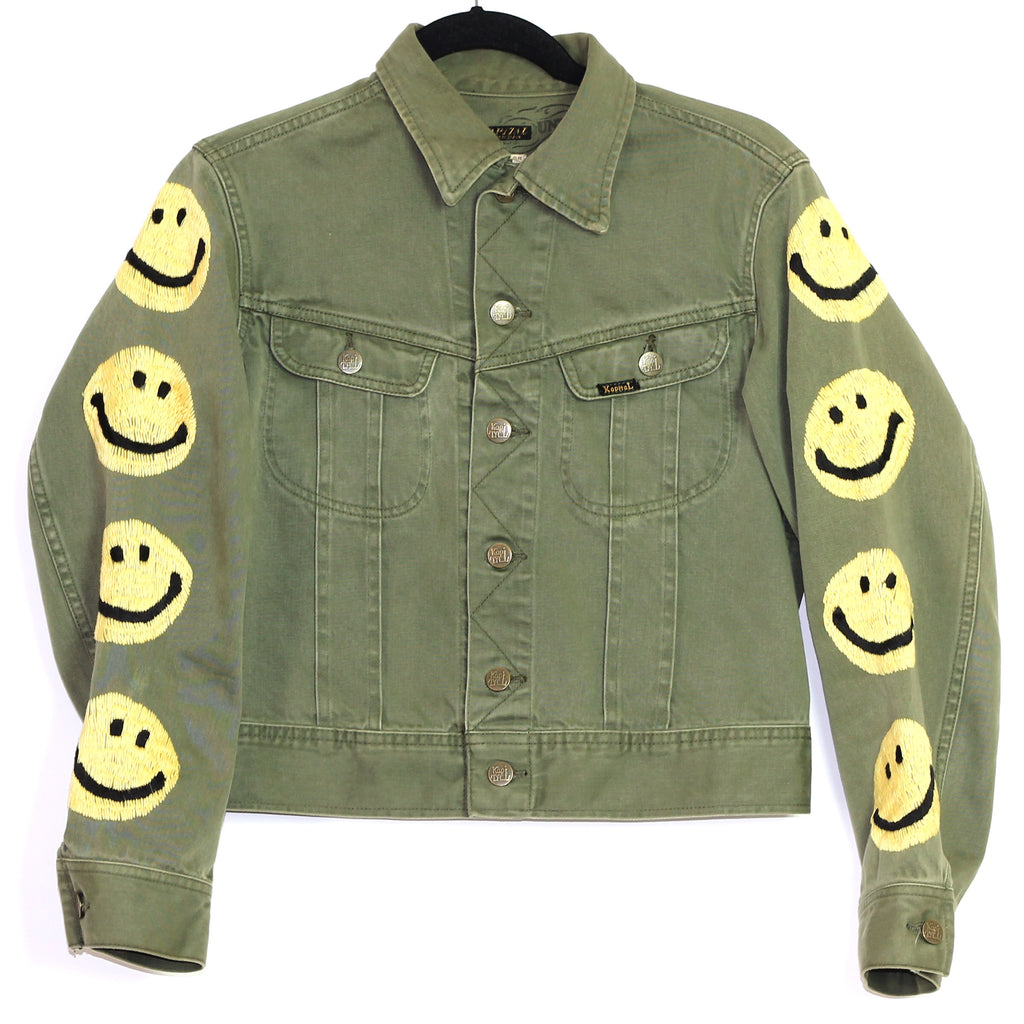 Kapital Kountry embroidered smiley face  cropped trucker medium