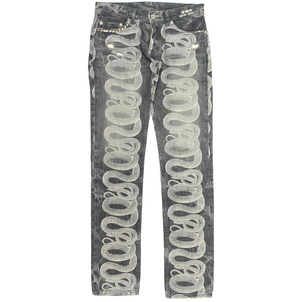 Hysteric Glamour Black Faded/Studded Snake Denim 27 XS