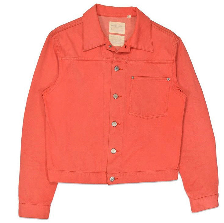 INQUIRE Helmut Lang Coral Pink Silk blend Raw Denim Jacket A/W01 Small