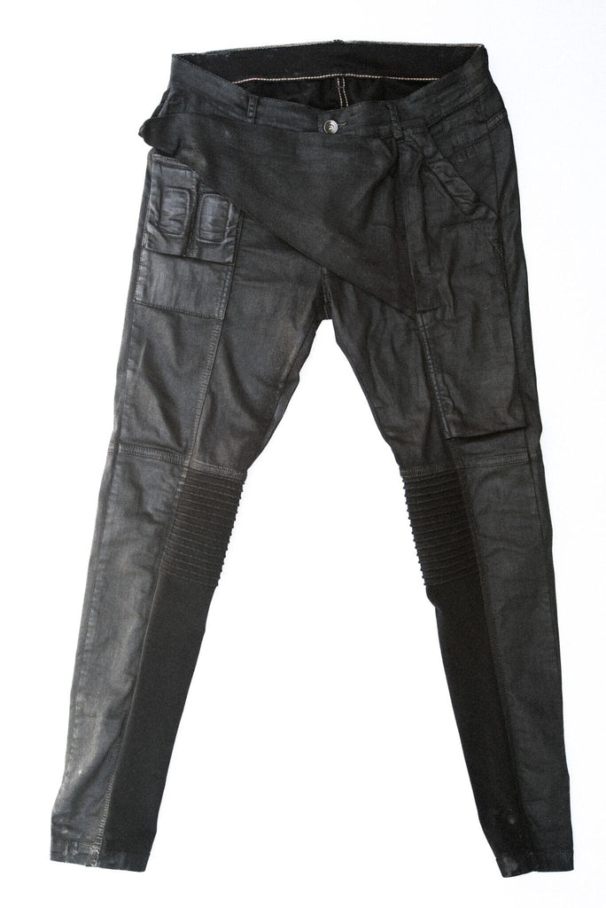 Rick  Owens black waxed Memphis pants 30