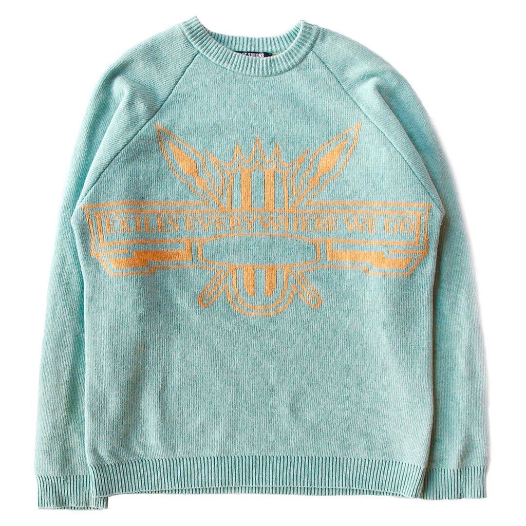 "INQUIRE Raf Simons ""Exiles Everywhere We Go"" Intarsia Sweater A/W04 ""Waves"" Medium"