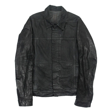 Rick Owens Leather Sleeved Wax Coated Workers jacket Medium