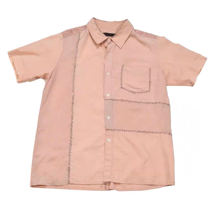 "INQUIRE Undercover pink silk/lace paneled hand stitched button-up S/S03 ""Scab"" Medium"