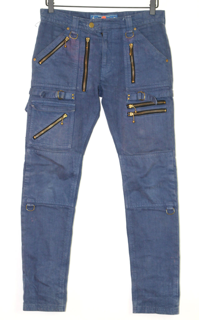 Blackmeans navy biker denim/motorcycle pants size 2