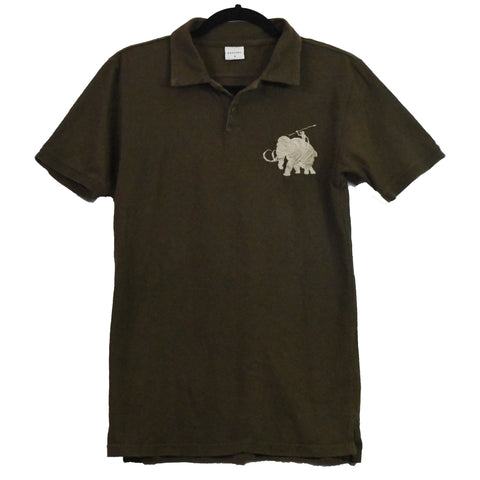 "Kapital olive ""Polo Spoof"" wooly mammoth logo collared shirt 2/Medium"