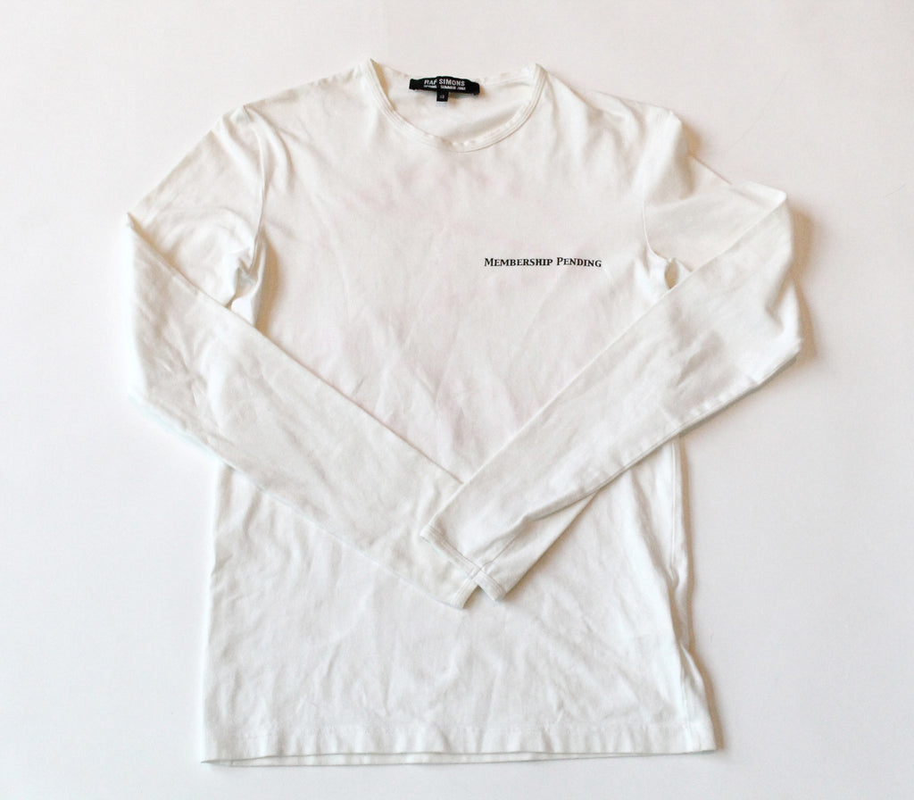 "Raf Simon's ""Mebership Pending"" Long Sleeve Size 48 ""Consumed""  S/S 2003"