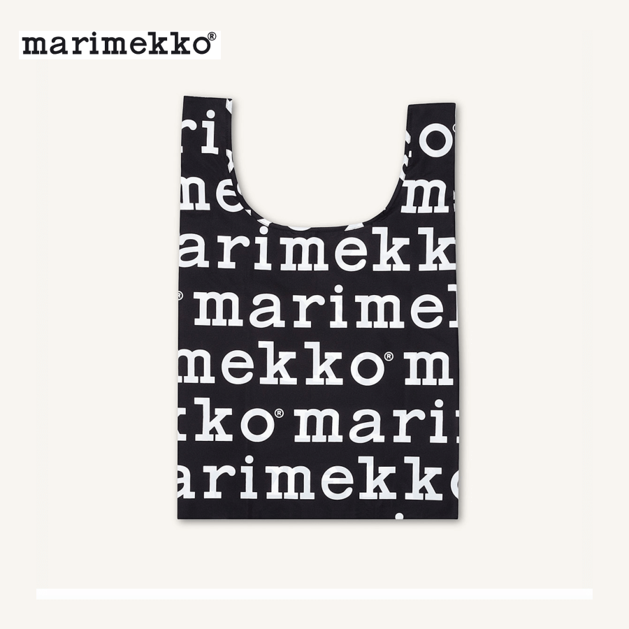 Marimekko Smartbag Marilogo Shopping / Tote Bag 041395-910 - Signature Logo Black & White