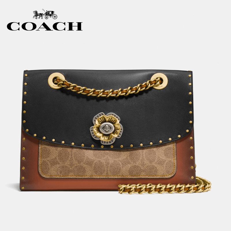 Coach - Parker With Rivets And Snakeskin Detail Shoulderbag / Handbag - Black Multi / Brass