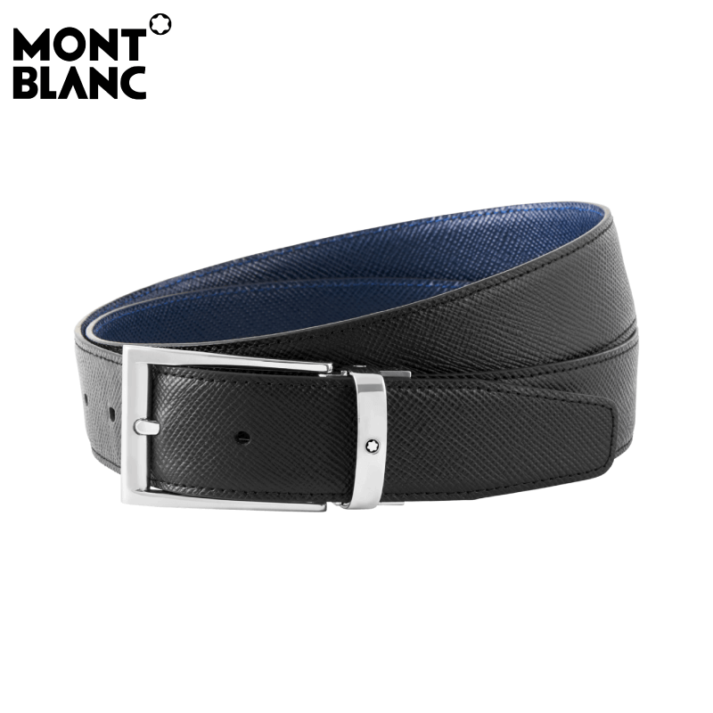 Montblanc - Contemporary Line Men's Sartorial Leather Reversible 35mm Belt -Black / Navy (118438)