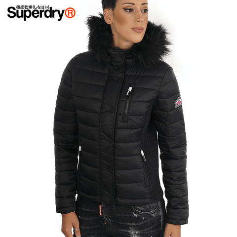 Superdry - Fuji Slim Double Zip Hooded Women Jacket Size L- Black (G50004LR)