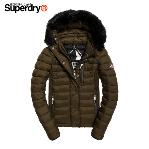 Superdry - Fuji Slim Double Ziphood Sports Women Jacket Size S - Olive