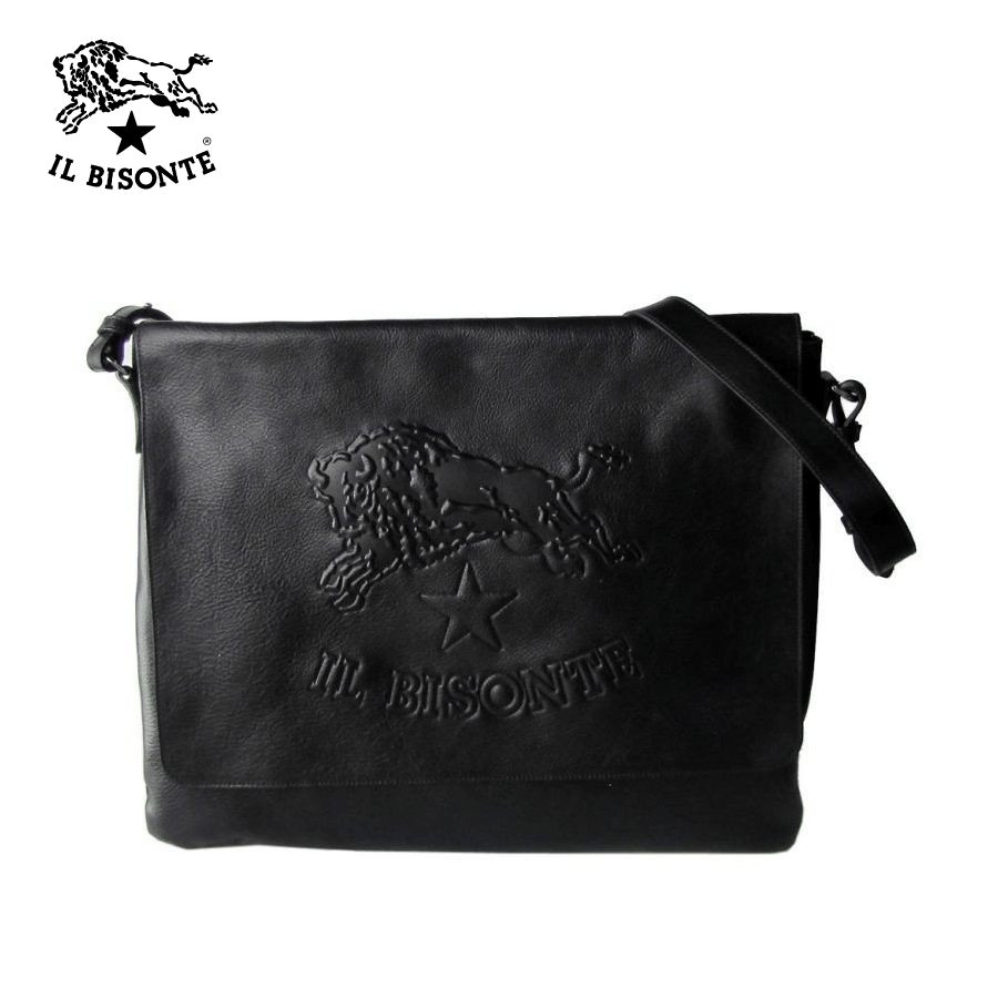 Il Bisonte - Man's Crossbody / Messenger Bag Logo In Cowhide Leather - Black (A2823.EP)