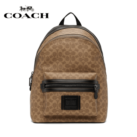 Coach - Academy Backpack In Signature Canvas - Khaki / Black Copper