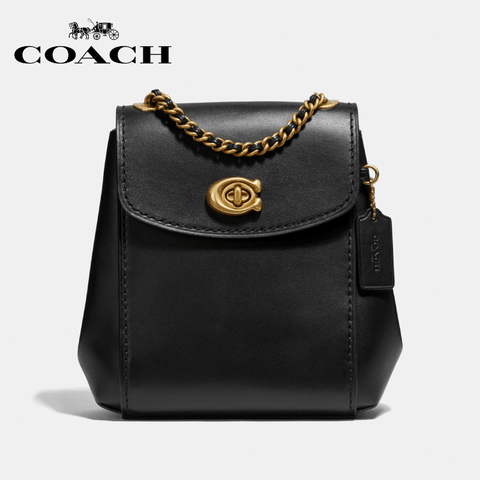 Coach - Parker Convertible Backpack  - Black / Brass