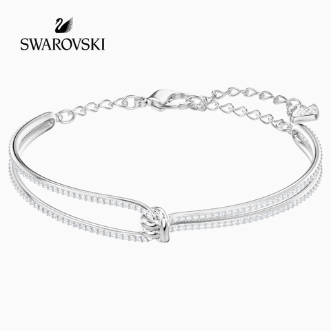 swarovski LIFELONG BANGLE, WHITE, RHODIUM PLATED